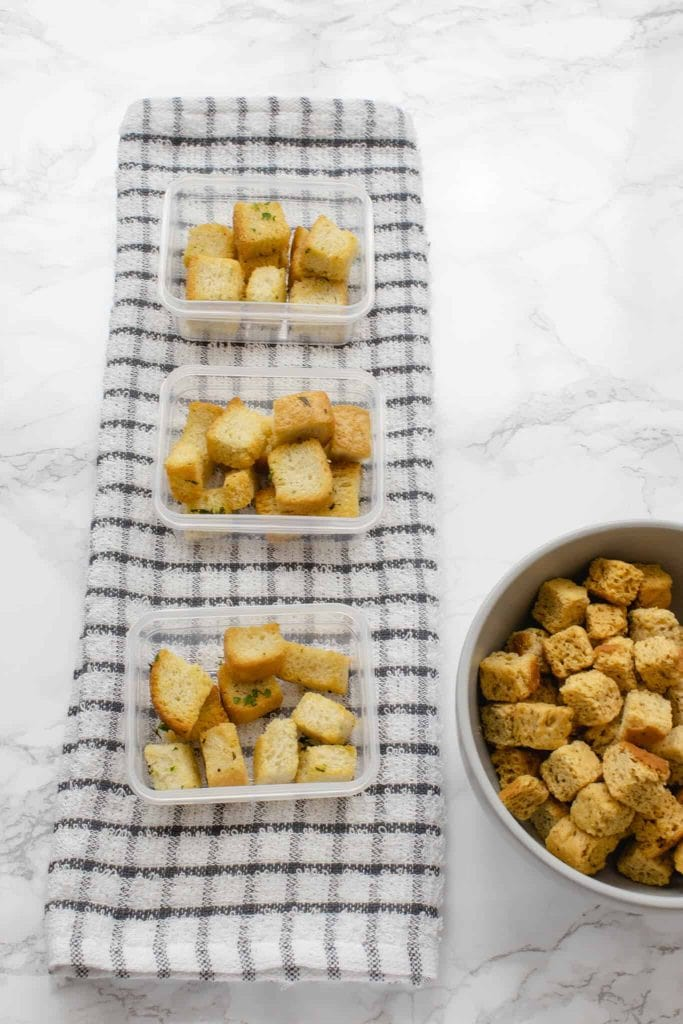 Croutons in mini Tupperware containers