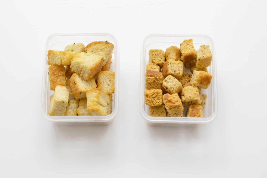 Homemade and store-bought croutons side by side