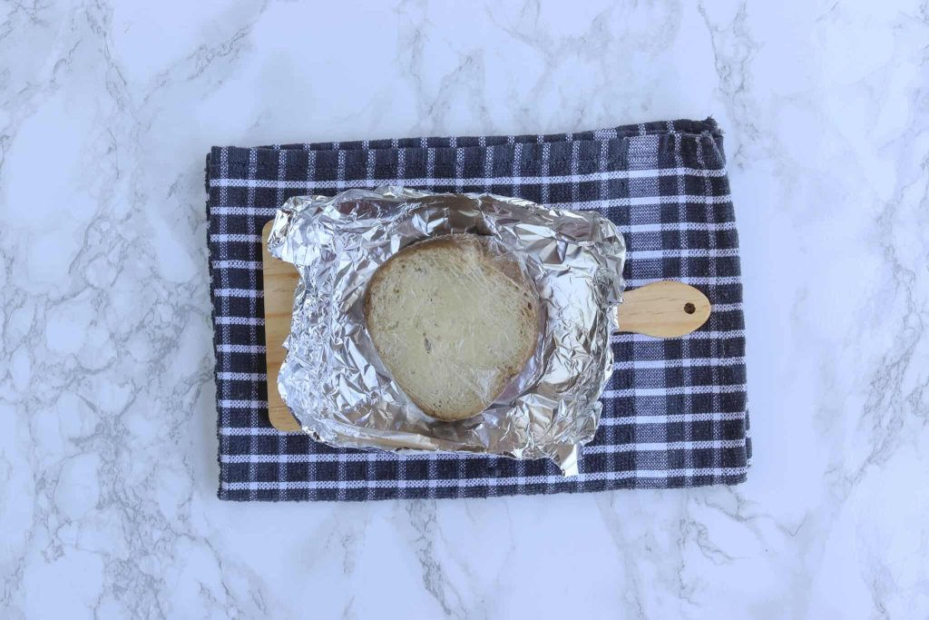 Seitan double wrapped in cling film and foil