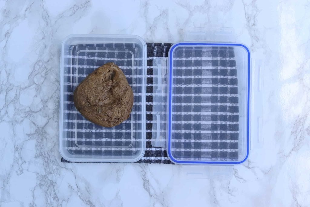 Seitan in tupperware with added water