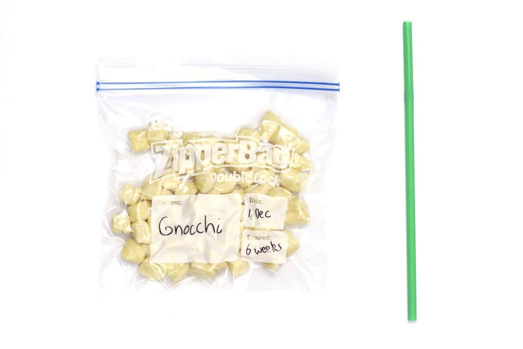 Gnocchi in airtight freezer bag ready for freezing