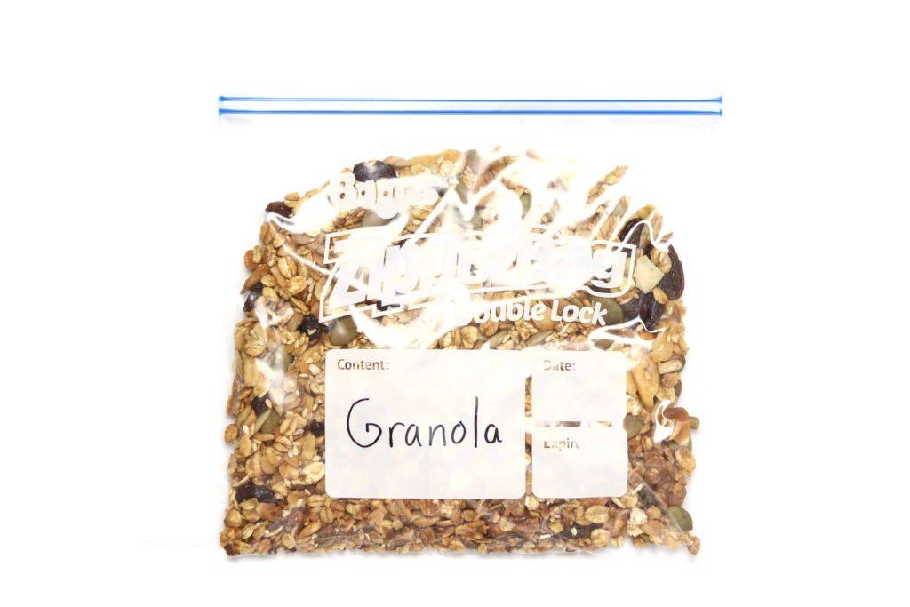 Granola in freezer bag