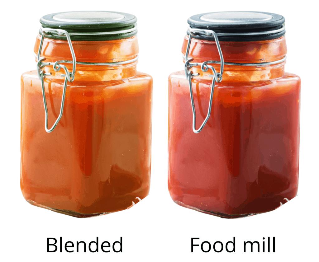 blended vs food mill tomato sauce