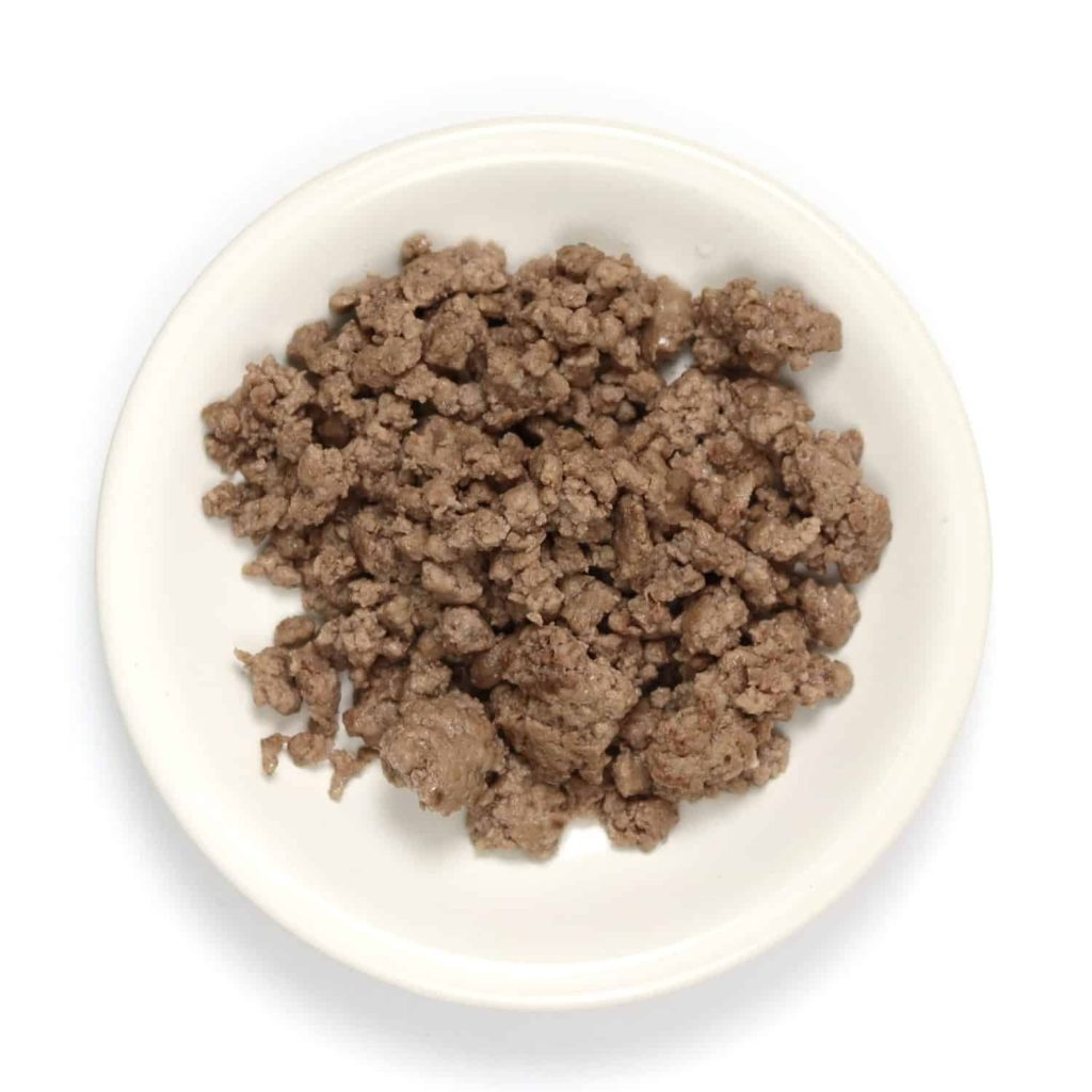 Regular ground beef after being cooked.