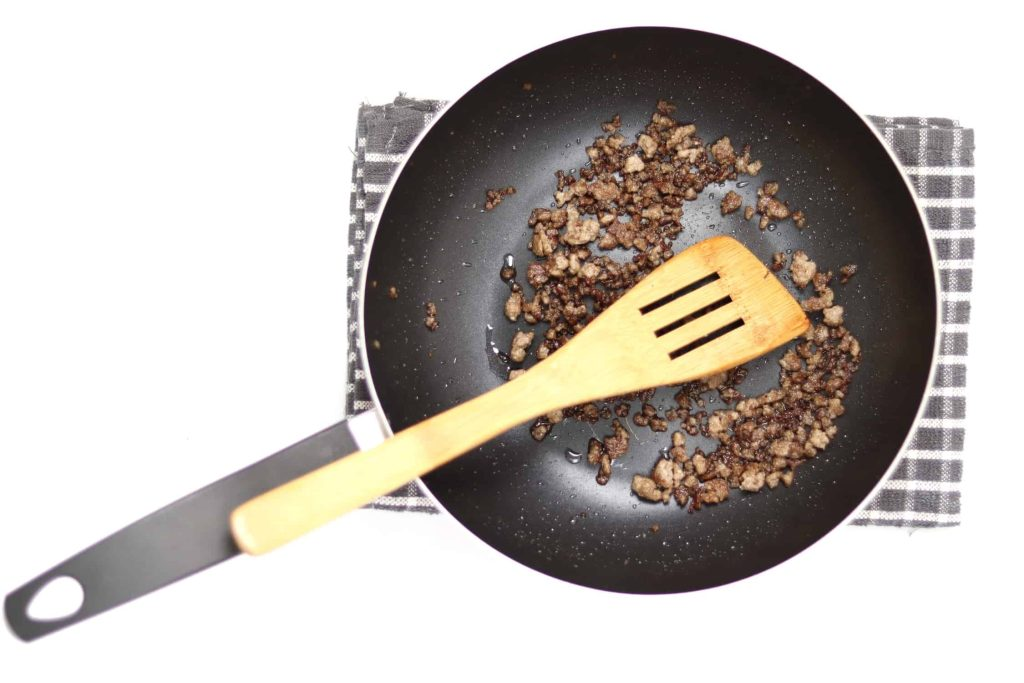 Maillard reaction showing a saucepan with browned ground beef