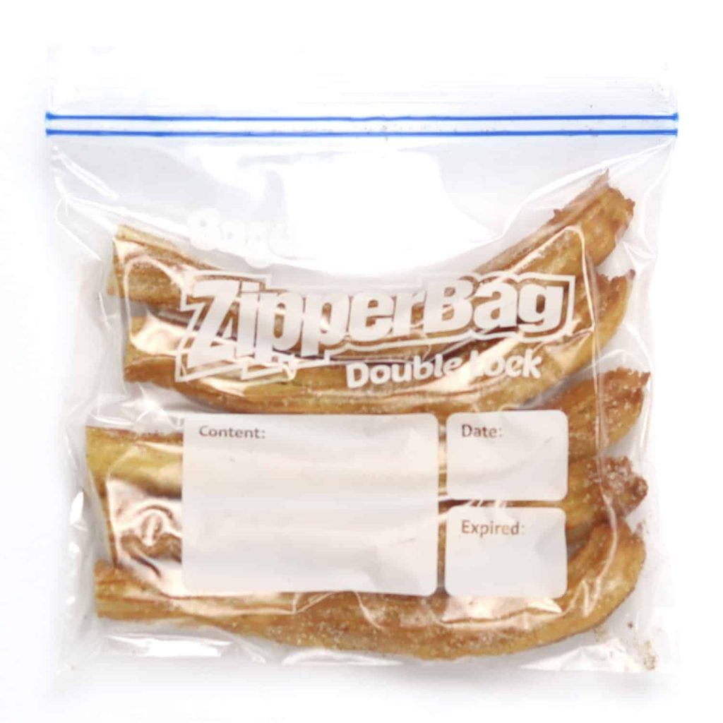 cooked churros in freezer bag