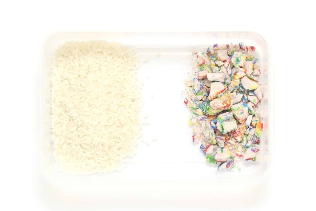 Crushed candy stored with rice in an airtight container