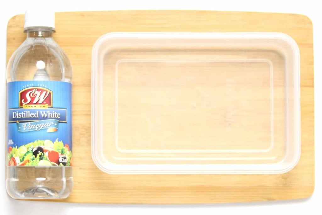 Plastic container soaked in a vinegar and water solution