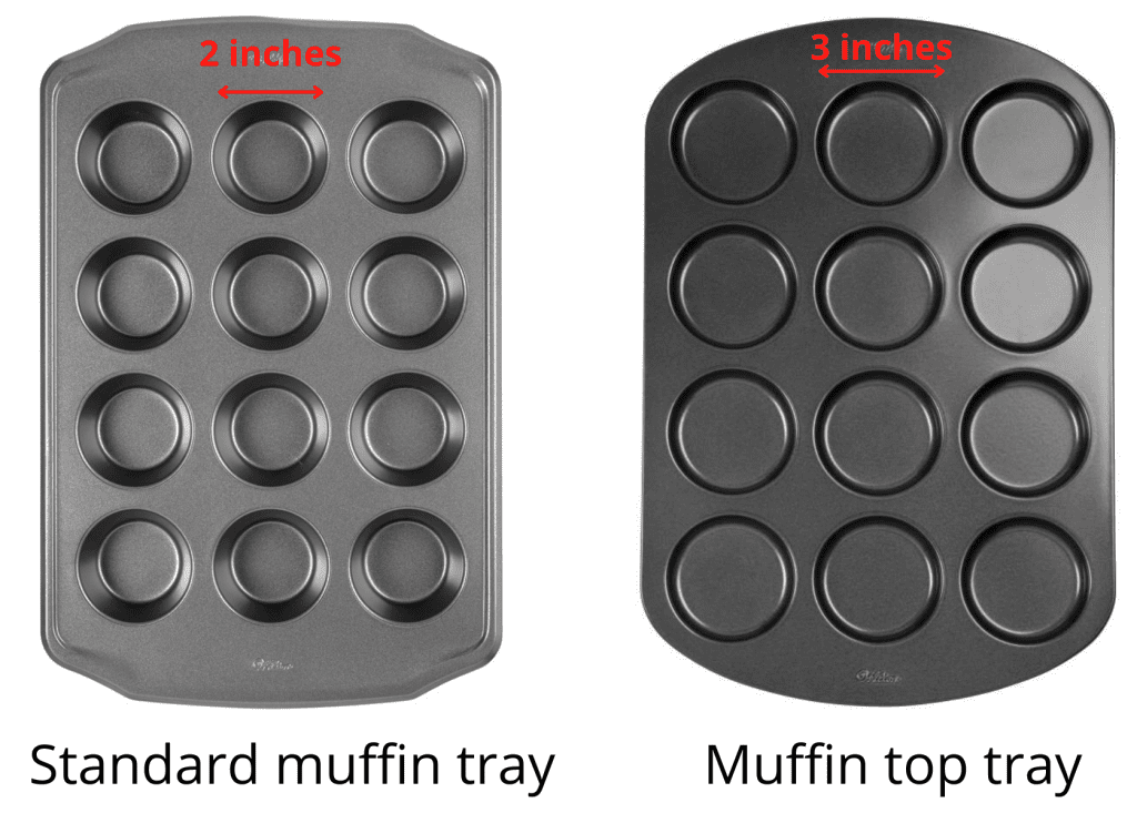 muffin tray vs muffin top tray size