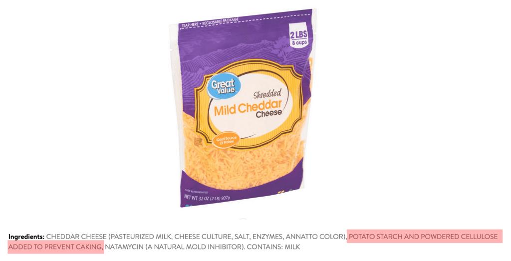 shredded cheese ingredients