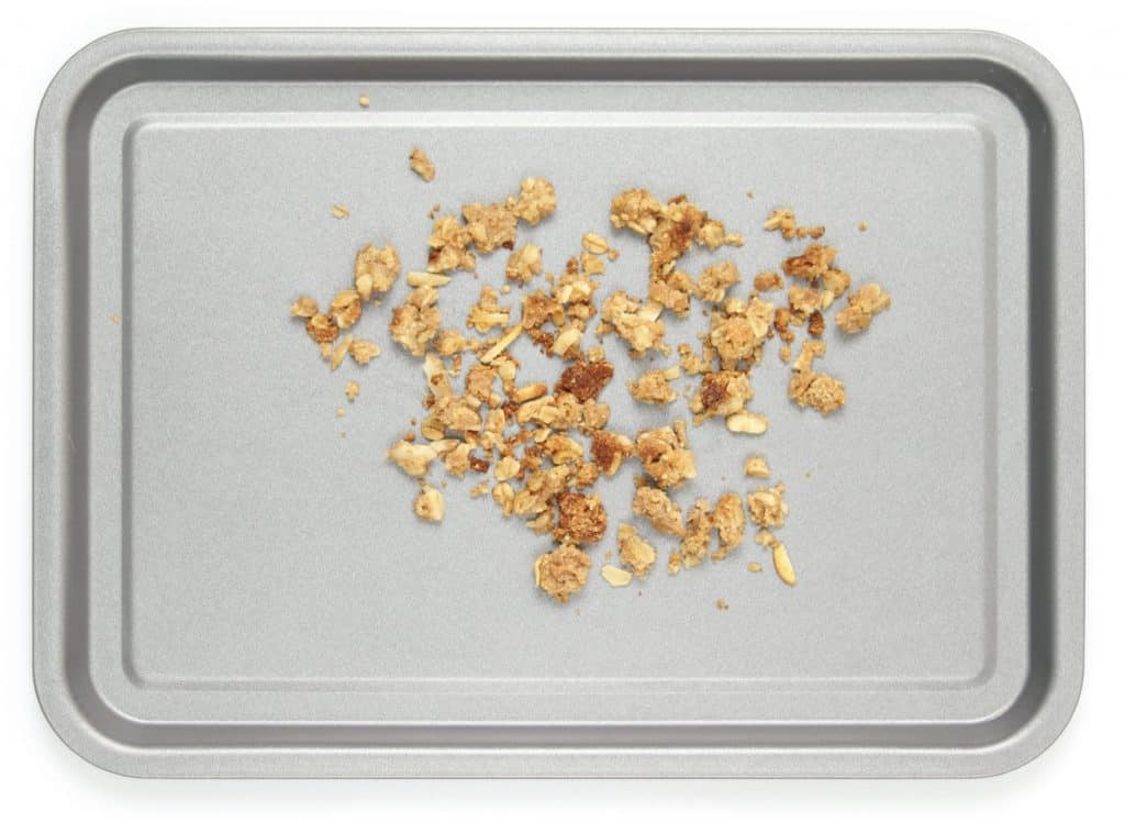 Apple crisp topping on baking tray