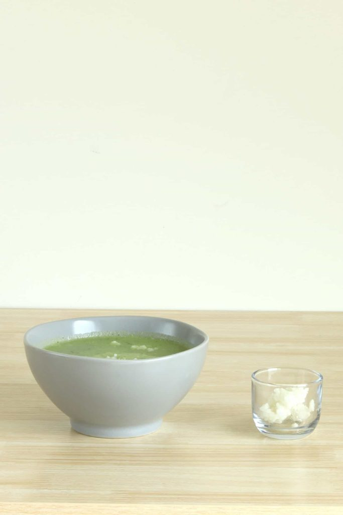 Soup with rice added to absorb lemon flavor and acidity